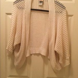 Faded Glory White Crochet 1/2 Sleeve Kimono.  Sz M